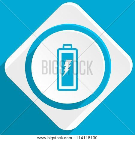 battery blue flat design modern icon for web and mobile app