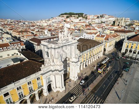 LISBON, PORTUGAL - CIRCA DEZ 2015: Aerial View of Baixa Chiado with Augusta Arch in Lisbon, Portugal