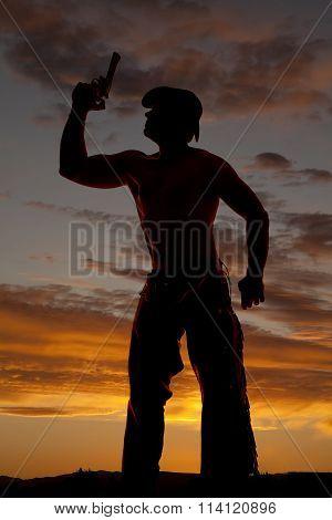 Silhouette Cowboy No Shirt Point Pistol Up