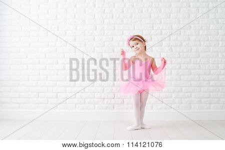 Little Child Girl Dreams Of Becoming  Ballerina