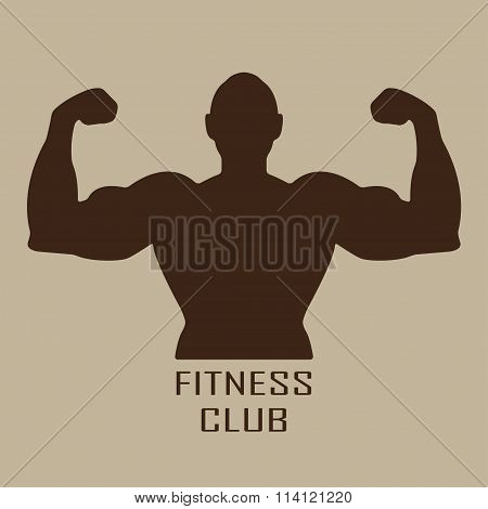 Muscle man icon or sign. Fitness club and gym design. Vector illustration.