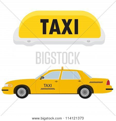 Taxi Car And Sign
