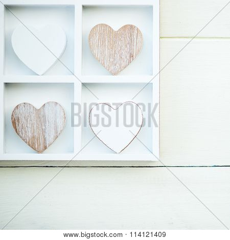 Wooden White And Grey Hearts In The Wooden White Tray