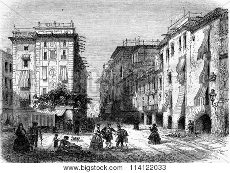 Place of San Agust�n Bella, vintage engraved illustration. Magasin Pittoresque 1857.
