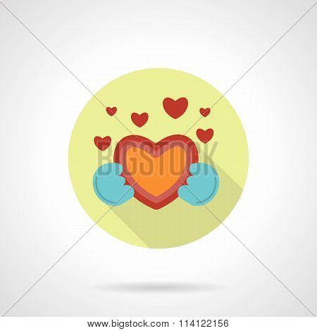 Give heart vector icon flat round style