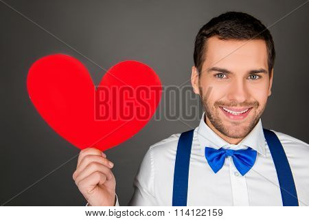 Close Up Photo Pf Handsome Man With Red Paper Heart