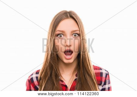 Closeup Photo Of Astonished Cute Girl Opening Mouth