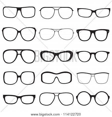 Glasses outline set. Sun glasses black silhouettes. Vector illustration.