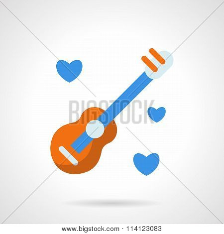 Guitar with hearts flat color vector icon