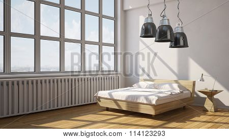 Urban bedroom in loft with view of city (3D Rendering)