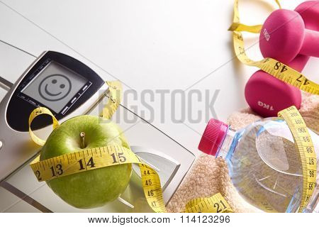 Concept Health Diet And Sports Woman Happy Face Message