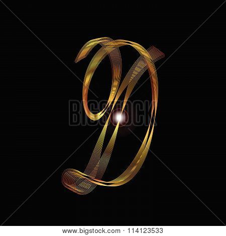 Letter D In Gold