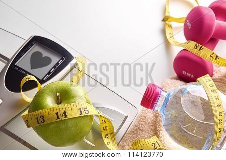 Concept Health Diet And Sports Woman Healthy Heart Message