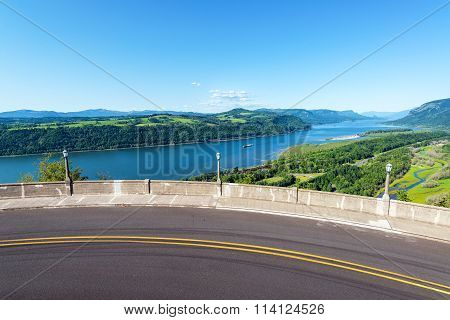 Road And Columbia River View