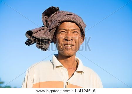 Portrait of Asian Burmese traditional farmer, Bagan, Myanmar