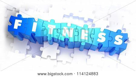 Fitness - White Word on Blue Puzzles.