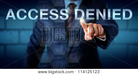 Businessman Pointing At Access Denied