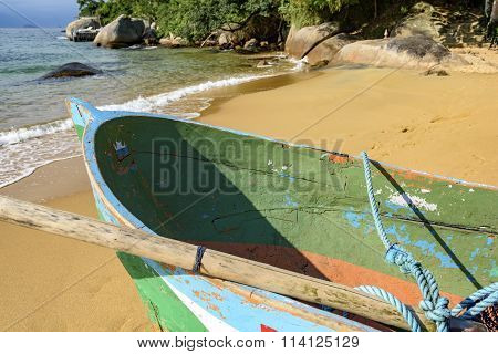 Rowing fishing boat