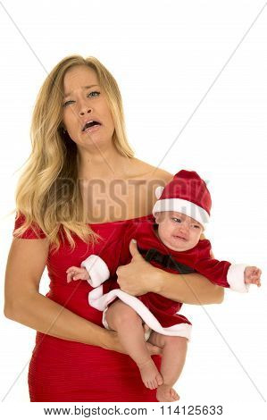 Woman In Red Dress Mad With Crying Santa Baby