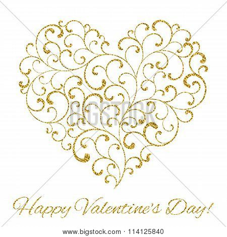 Happy Valentine's Day! Heart Created Of Tracery With Gold Glitter On A White Background