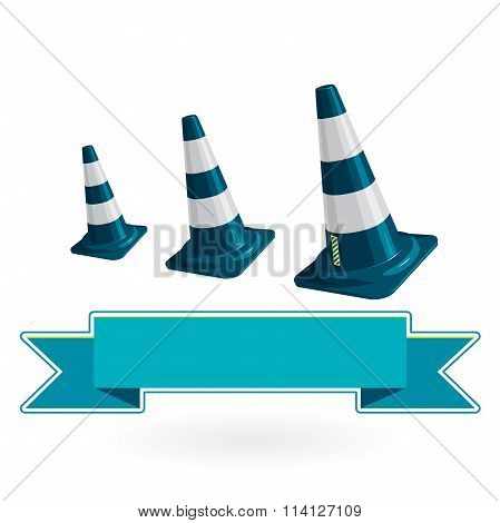 Nice classical blue plastic three traffic cone with white stripes on white
