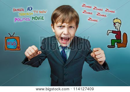 adolescent boy screaming clenched his fists media influence zomb