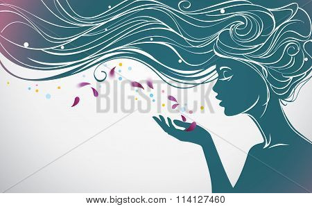 Girl with flower petals