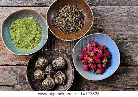 Tea - big leaf green tea rose, powder Matcha tea, flowering tea