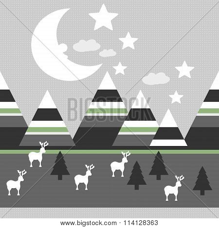 winter scene with reindeer, mountains, moon and trees, repeating pattern
