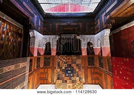 FES, MOROCCO - OCTOBER 27, 2015: Traditional riad interior in Fes El Bali medina, Morocco, Africa