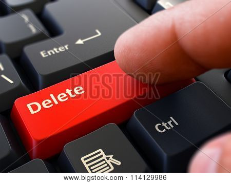 Delete - Written on Red Keyboard Key.