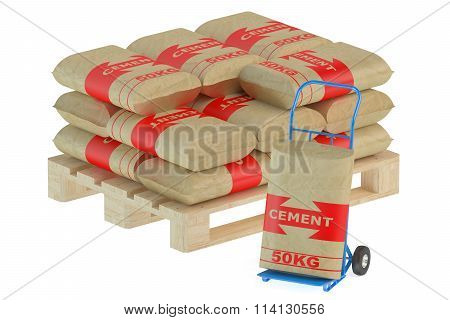 Cement Bags On Pallet With Hand Truck
