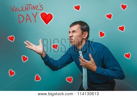 business man stretches out his hand forward style Valentine's Da