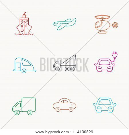 Transportation icons. Car, ship and truck signs.