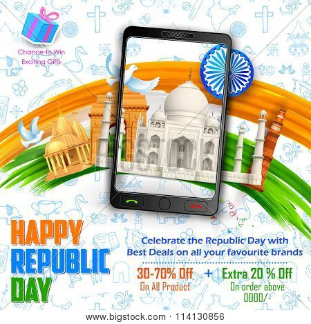 illustration of Republic Day sale banner with Indian historical monument