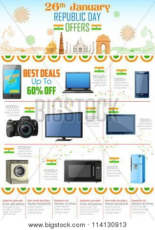 illustration of Republic Day sale and promotion offer