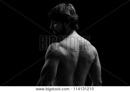 A man looking at one side