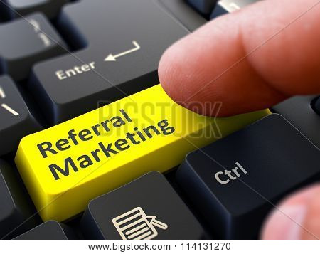 Referral Marketing Concept. Person Click Keyboard Button.