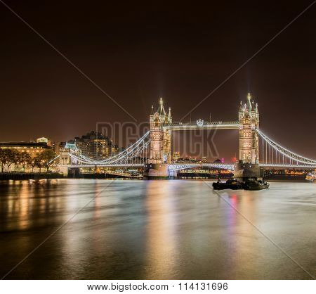 Famous Tower Bridge in London at night