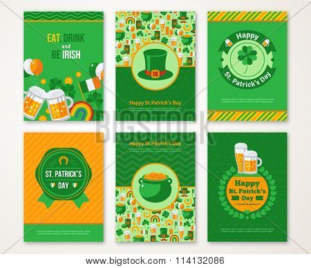 Set Of Happy Patricks Day Greeting Card