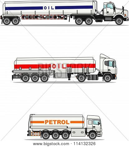 Set of gasoline trucks isolated on a white background in flat style. Vector illustration.