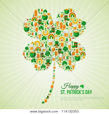 Patricks Day Concept with Flat Lovely Icons