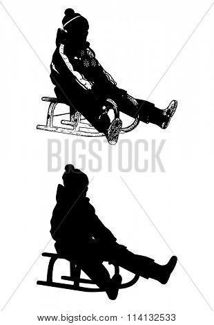 sledding illustration and silhouette - vector