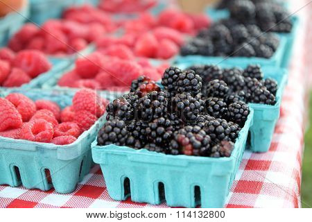 Blackberries and Raspberries in Cartons at Farmers Market