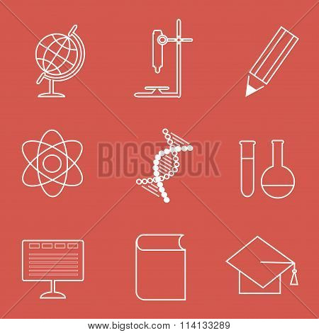 Education line style icons, white contours on redGlobe, microscope, pencil, atom, DNA
