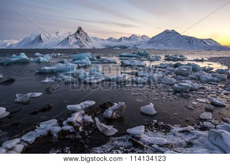 Arctic winter in south Spitsbergen.