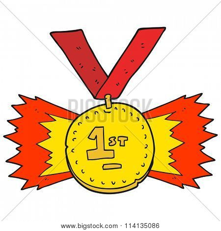 freehand drawn cartoon first place medal