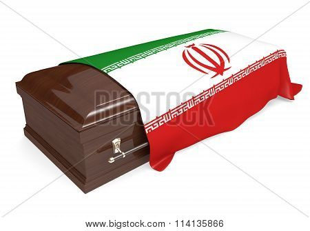 Coffin covered with the national flag of Iran