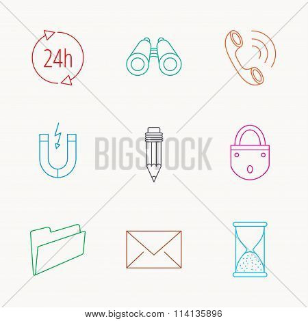 Phone call, pencil and mail icons.