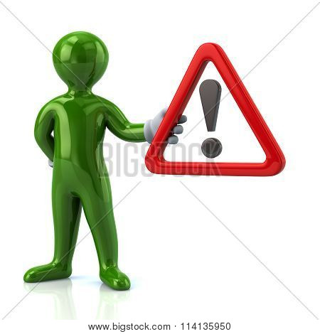 Green Man Hholding  Warning Attention Sign With Exclamation Mark